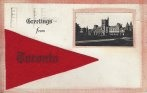 Toronto greetings postcard felt banner with inset RPPC