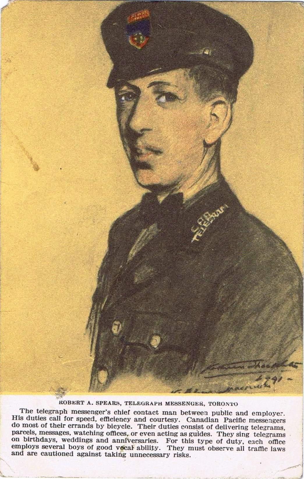 1i - Robert A. Spears,  telegraph messenger, Toronto