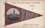Toronto greetings postcard, banner with inset RPPC