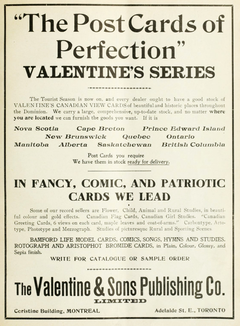 Valentine & Sons advertisement