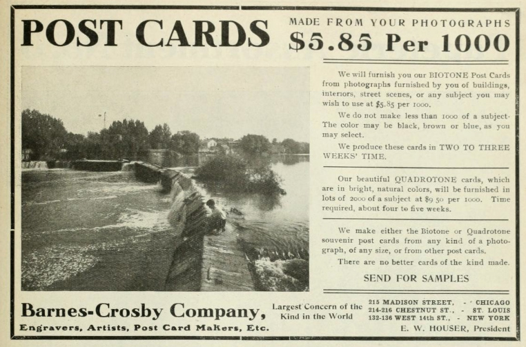 Barnes-Crosby Co. postcard advertisement