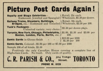 Parish postcards, Toronto advertisement 1906