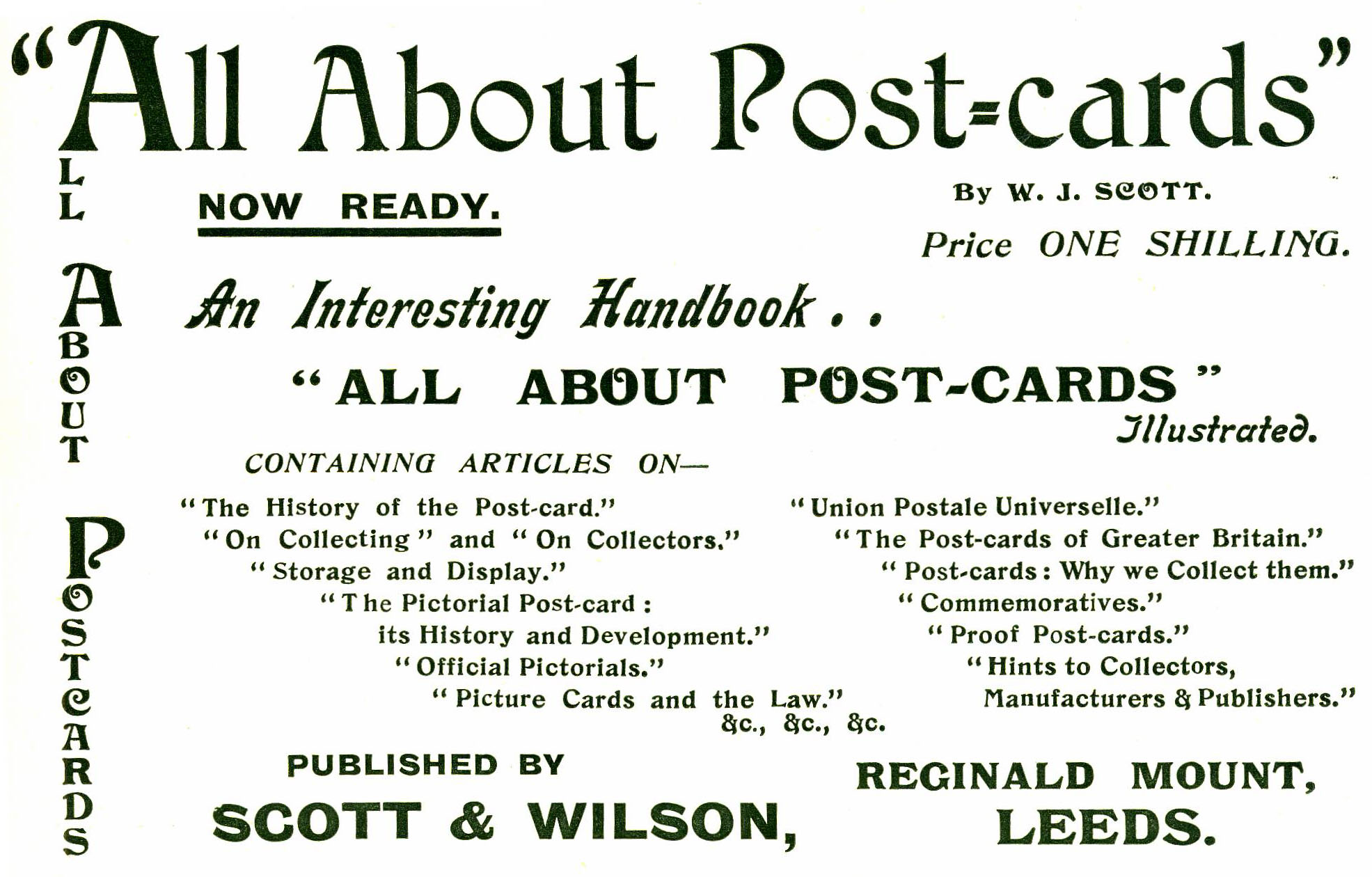 "99112289a11 Advertisement for Walter J. Scott s ""All About Post-cards"" as published in  a popular postcard collectors  magazine."